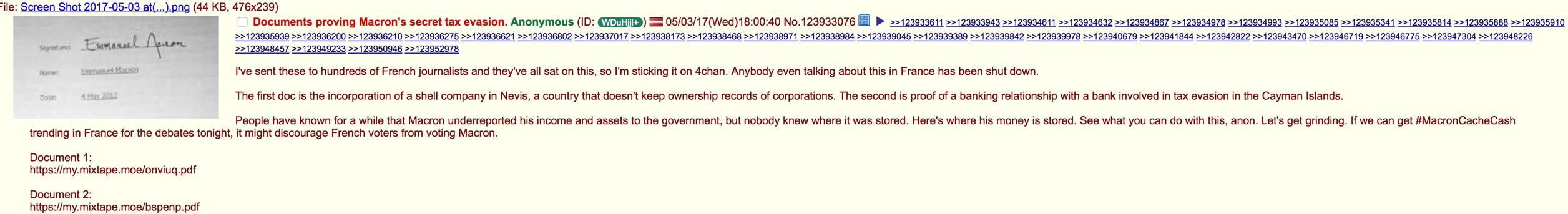 MacronLeaks files on 4Chan