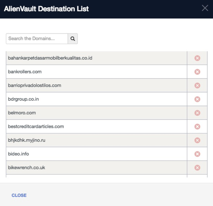 USM Anywhere destination list to search domains
