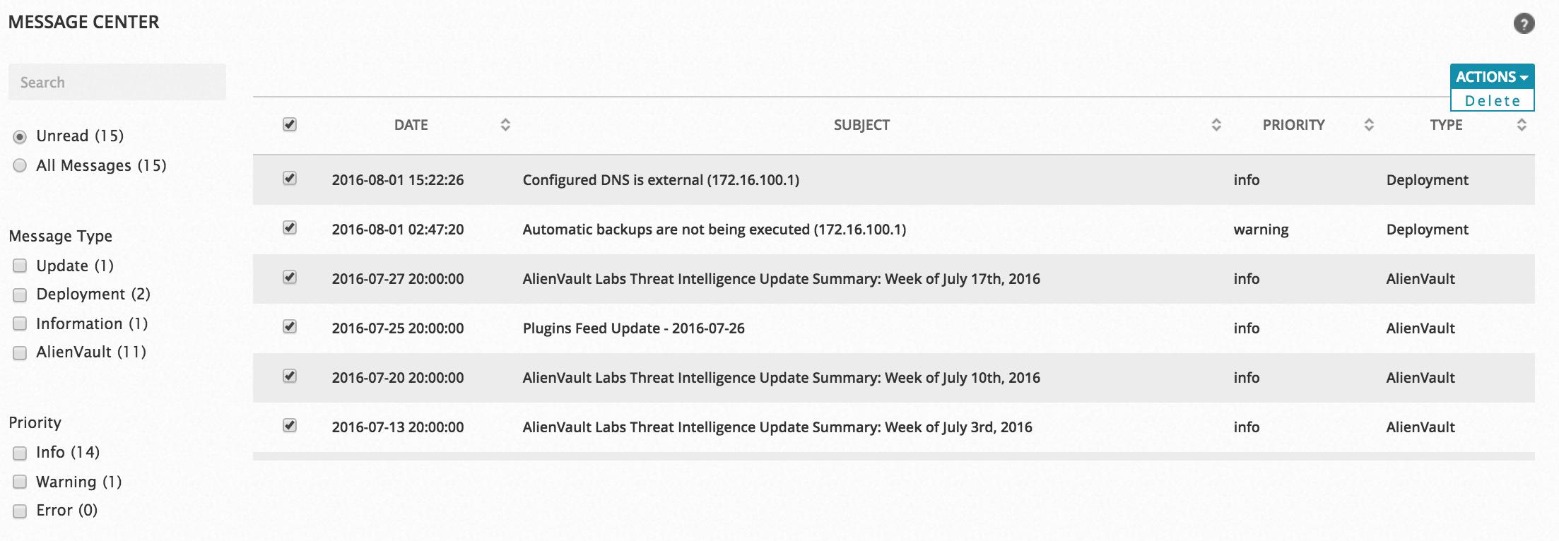 Bulk delete messages in the AlienVault Message Center