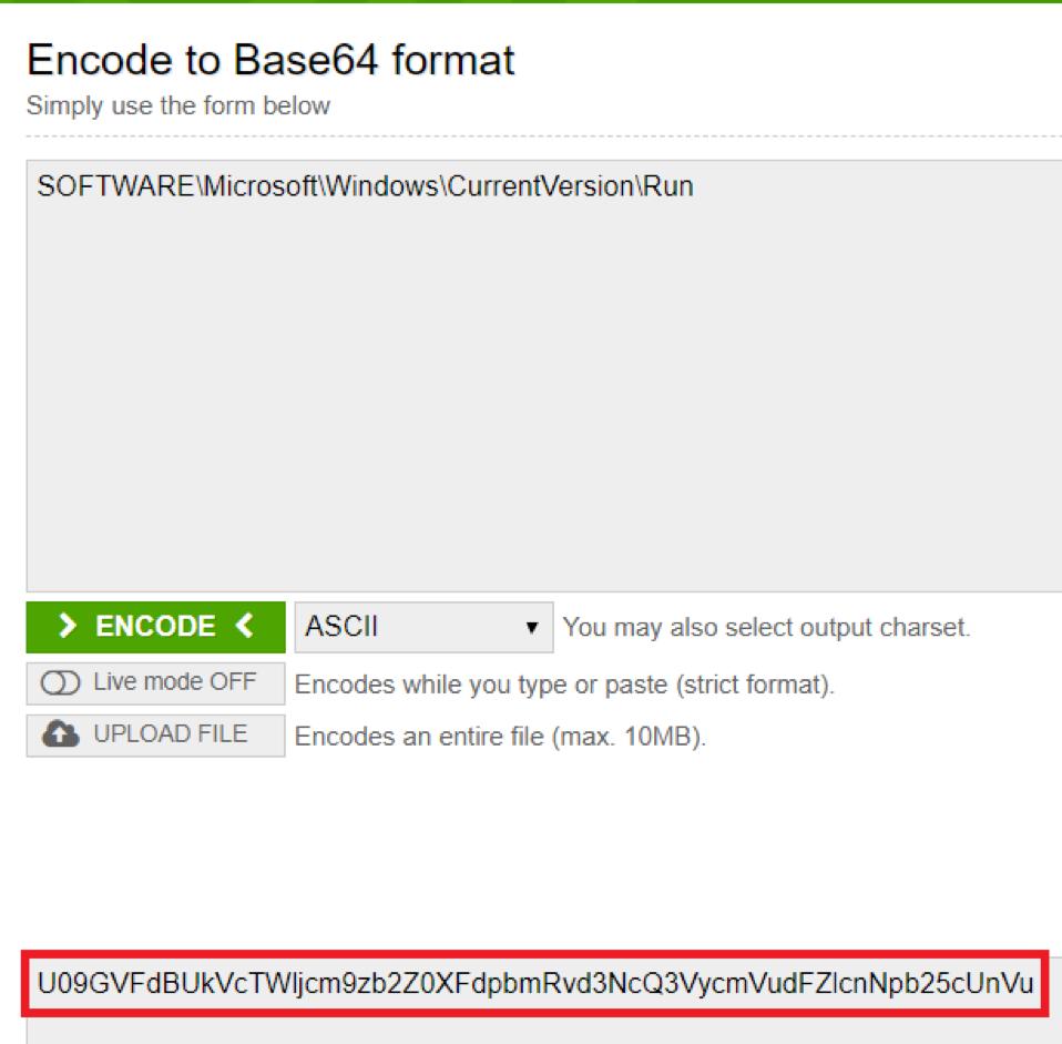 "Using an encoder tool, enter the string ""SOFTWAREMicrosoftWindowsCurrentVersionRun"" and click ""encode"""