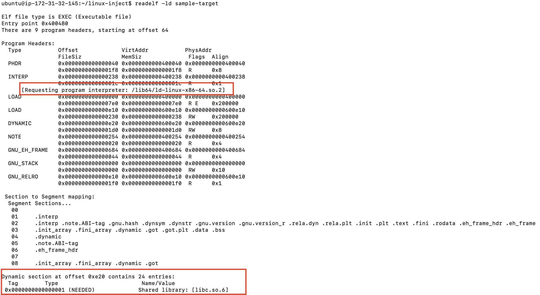 sample-target ELF file