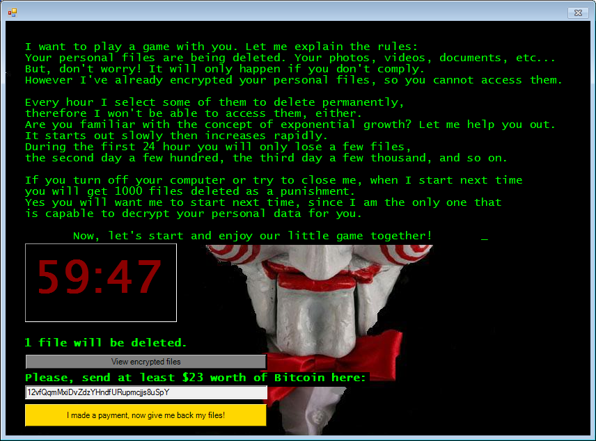 JIGSAW ransomware deletes files rather than encrypting them