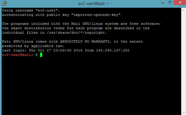 Kali Linux in AWS cloud for free