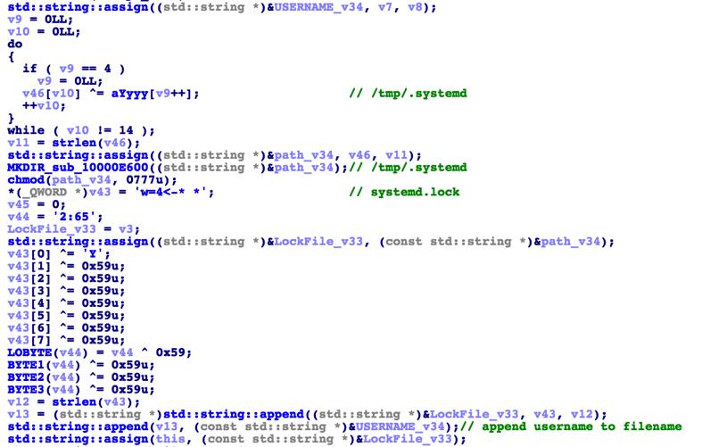 Systemd XOR decrypting strings