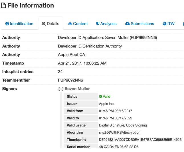Dok signed with a legitimate certificate