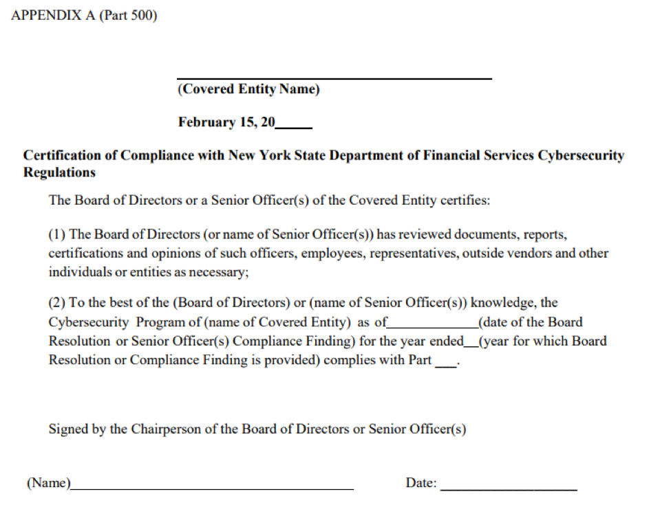 New York State Department of Financial Services new regulation for CISO