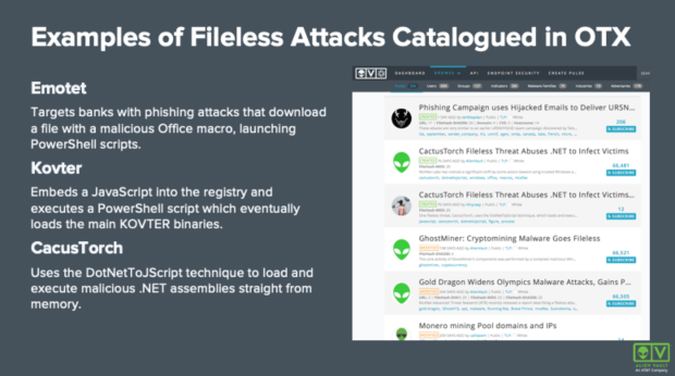 Emotet, Kovter, and CacusTorch are three examples of fileless malware attacks catalogued in OTX™.
