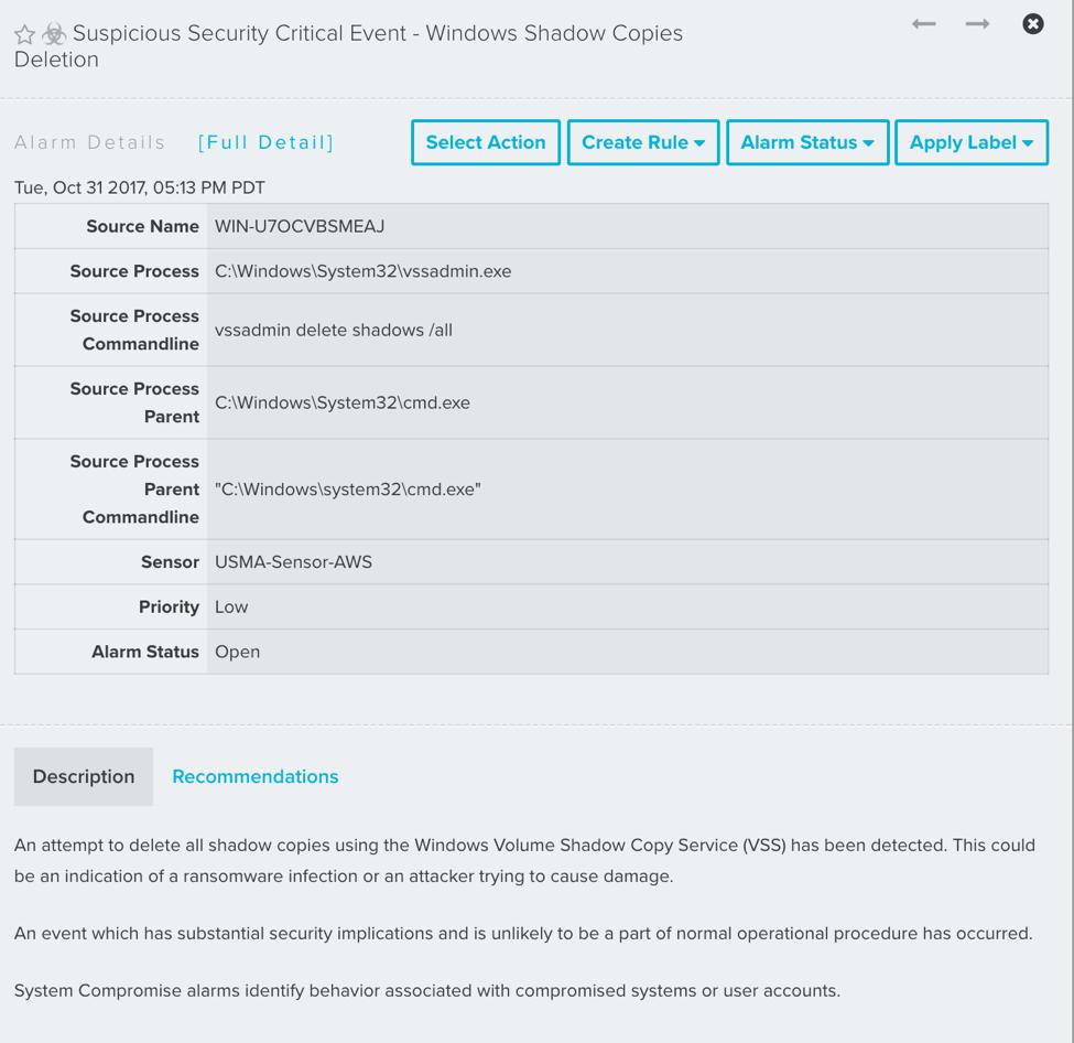 How USM Anywhere detects LockCrypt