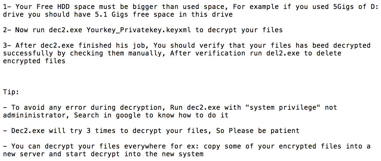 SamSam decryption requires space