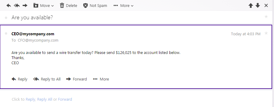 spoofed email from ceo is fake