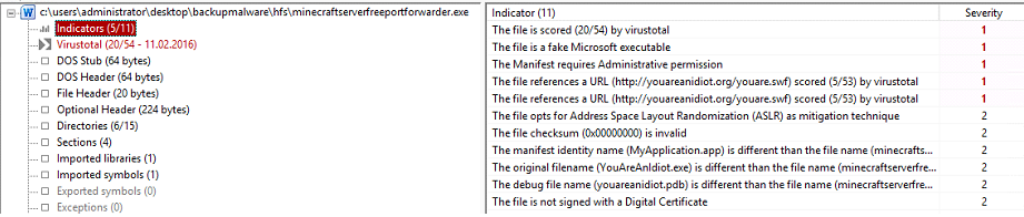 indicators section of pestudio for malware analysis