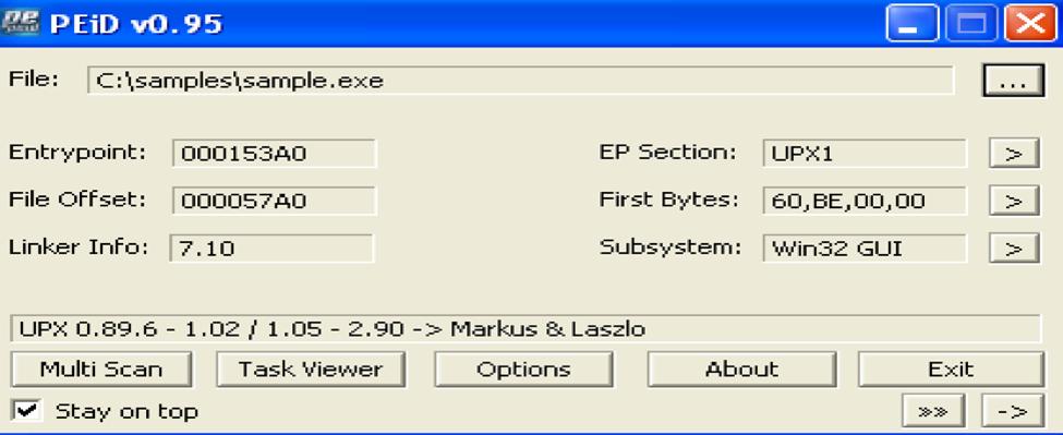 reverse engineering malware - PeID