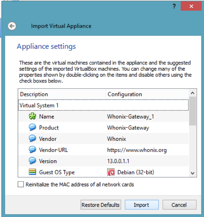 Import Virtual Appliance, Appliance settings, Whonix gateway, VirtualBox, Whonix TOR make Kali Linux Anonymous & How to prevent it