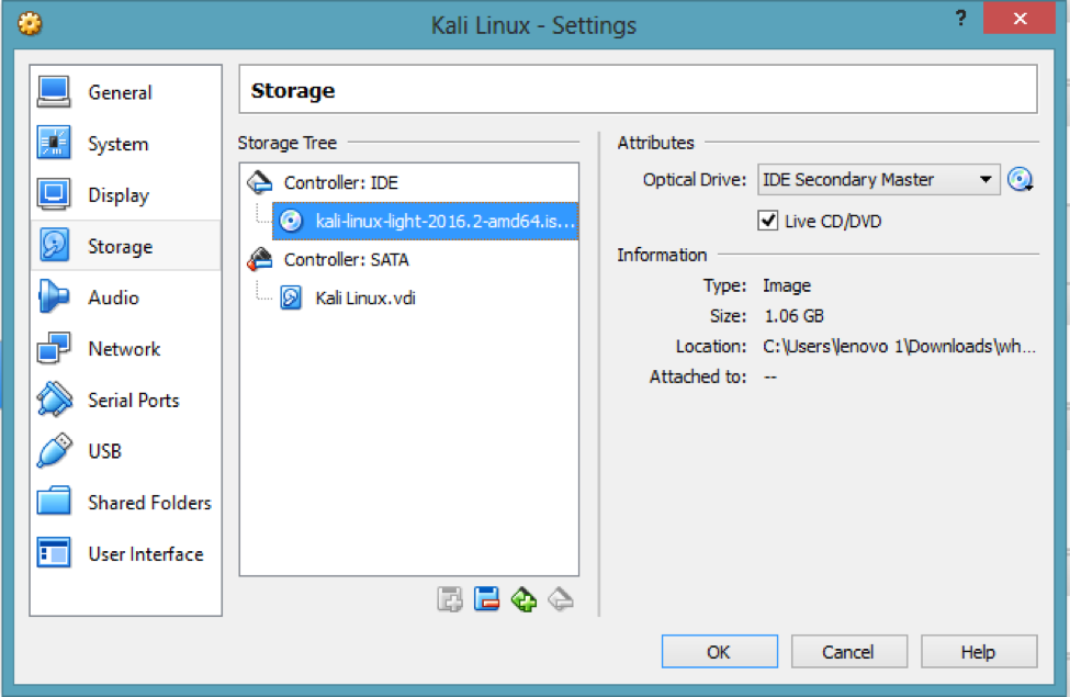 How does WHONIX make Kali Linux Anonymous & How to prevent it?, Storage, Kali ISO image