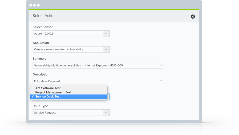 Open a new Jira issue to respond to a security threat in AlienVault USM