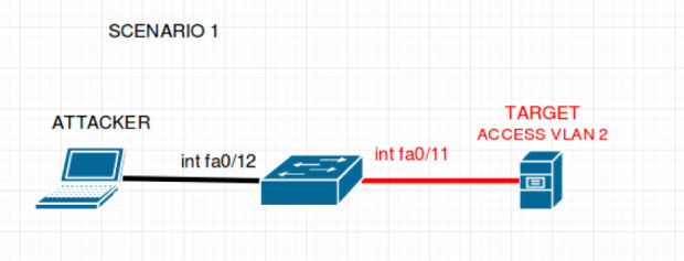 In this scenario there exists the attacker, a switch, and the target server. The attacker is attached to the switch on interface FastEthernet 0/12 and the target server is attached to the switch on interface FastEthernet 0/11 and is a part of VLAN 2