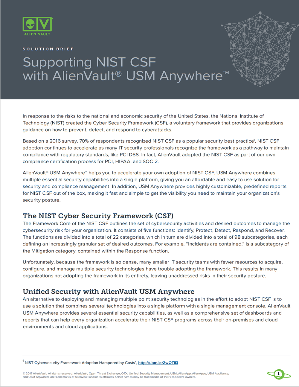 NIST Cybersecurity Framework Compliance With AlienVault