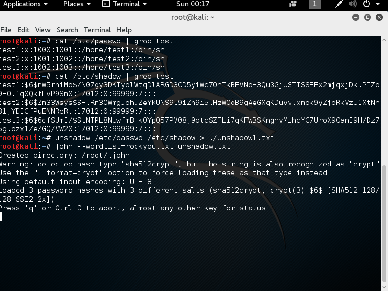 Kali unshadow and pipe password
