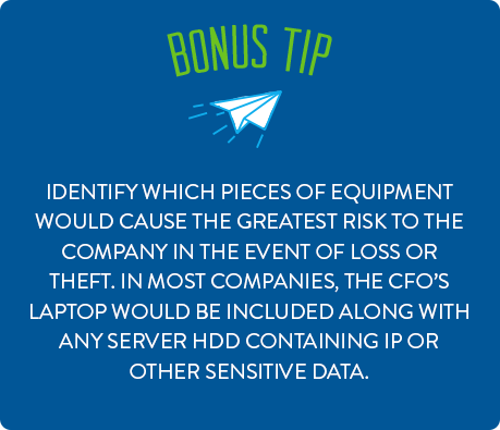 Identify which pieces of equipment would cause the greatest risk to the company in the event of loss or theft.