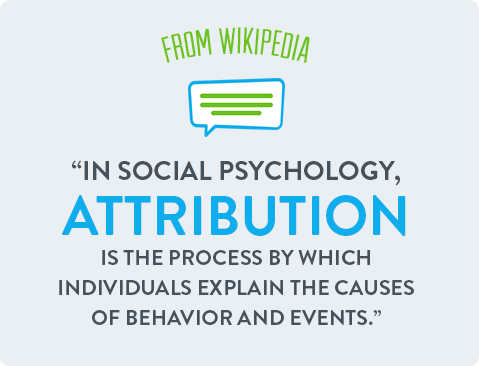 In social psychology, attribution is the process by which individuals explain the causes.